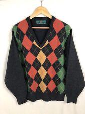 Alan Paine Sweater | V neck | Pure Lambswool | Size 50 / XXL | Argyle Black