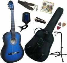 Pack Guitare Classique 4/4 Bleue Mat Avec 7 Accessoires