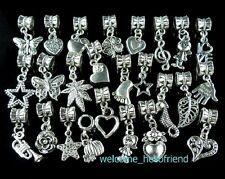 50pcs 25style mix Tibetan Silver Dangle Charms Fit European Bracelet ZY03