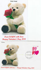 "2014 Valentines Day from Clyde booklet stamp on limited edition ""K"" Covers FDC"