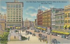 Worcester, Massachusetts City Hall Plaza, Park Building, Post Office in 1940's