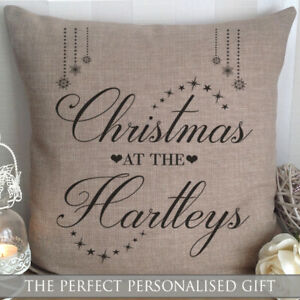 PERSONALISED CANVAS CUSHION CHRISTMAS AT THE ANNIVERSARY WEDDING MR & MRS GIFT