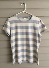 GAP Stretch size Large cream and gray striped short sleeve top fitted tee