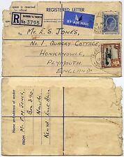 KUT KENYA REGISTERED STATIONERY ENVELOPE + 1/- to PLYMOUTH GB 1952