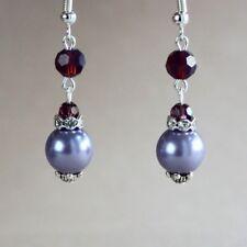 Purple lilac mauve pearls crystal drop silver wedding bridesmaid bridal earrings