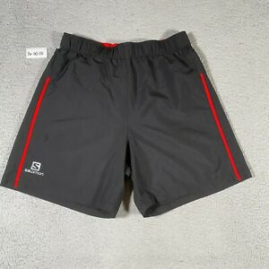 Salomon Shorts Mens Medium Black Red Active Dry Gym Athletic Running Work Out