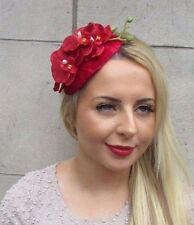 Red Velvet Orchid Flower Fascinator Teardrop Races Headband Wedding Vintage 3182