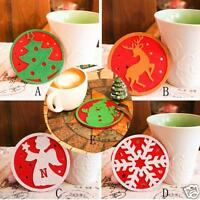Christmas Coffee Table Coaster Cup Cushion Holder Drink Placemat Mat Home Decor