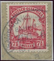 174/ DOA 1914 32 Briefstück Usambara Bahnpost Zug 6 a 15/4/14