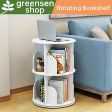 More details for white 2 tier bookcase rotating bookshelf storage shelves unit display shelf