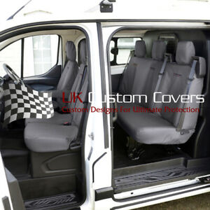 FORD TRANSIT CUSTOM DCIV 2013+ FRONT REAR SEAT COVERS INC EMBROIDERY 102 131 GEM