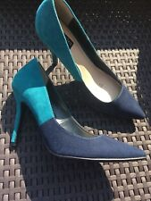 Navy Turquoise Suede Effect High Shoes Size 6 Principles