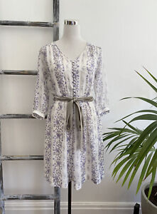 Witchery Lilac Printed Silk Dress with Slip and Velvet Waist Tie - Size 10