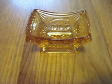 VTG AMBER GLASS DEPRESSION TRINKET DISH JEWELRY RING COIN CHERRY BLOSSOM PLUMS