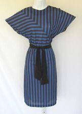 VINTAGE 1970s 80s ITEMS CALIFORNIA DRESS BLACK BLUE STRIPES BELT SIZE 6 POLY