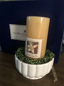Bath &Body WHITE CANDLE CO. French Vanilla Pillar Candle & Holder NEW