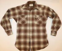 Vintage Pendleton 1960s High Grade Western Wear Plaid Wool Pearl Snaps SZ Large
