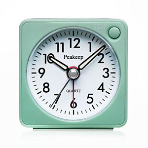 Peakeep Ultra Small, Battery Travel Alarm Clock with Snooze and Light, Silent No