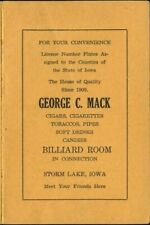 GEORGE MACK CIGAR BILLIARD ROOM STORM LAKE IOWA BUENA VISTA LICENSE PLATE GUIDE