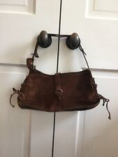 Henry Beguelin Italy Brown Suede Leather Baguette Shoulder Purse Side Ties