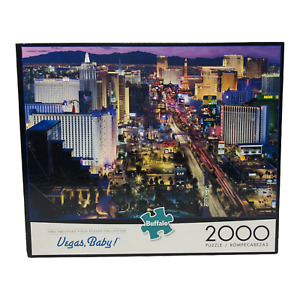 Vegas Baby Buffalo 2000 Piece Jigsaw Puzzle with Poster New York MGM Luxor Strip