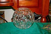 Brilliant Cut Glass Circular Fish Bowl Sphere Stars Circles Clear Glass
