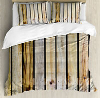 Rustic Duvet Cover Set with Pillow Shams Country Timber Fence Print