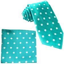 New Men's Polyester Woven Necktie & Hankie Polka White Dots Turquoise Blue