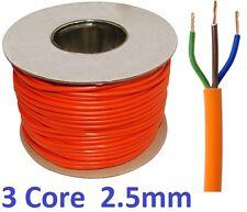 100m metros Tambor 2.5mm Naranja 240v de 3 núcleos carrete de cable flexible de PVC Alambre Redondo 3183Y Reino Unido