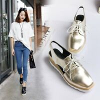 Womens/ladies Creeper High Heels Lace Up Flat Fashion Shoes Party Causal Prom