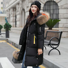 Women Winter Cotton Down Jacket Long Fur Hooded Coat Snow Parka Trench Puffer