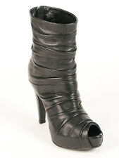 New  Loriblu Black leather Peep Toe Made in Italy Boots Size 39 US 9