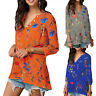 Women Boho Floral V-neck Long Sleeve Shirt Ladies Loose Casual Tops Tunic Blouse