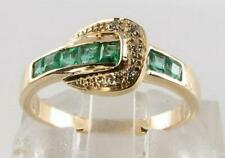 CLASS 9K 9CT GOLD COLOMBIAN EMERALD DIAMOND ART DECO INS BUCKLE BELT RING Size O