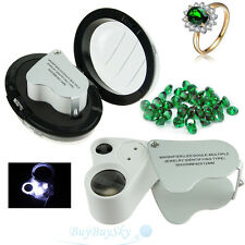 2 in1 60X 30X Magnifier Loop Magnifying Glass Jeweler Eye Loupe Lens LED Light