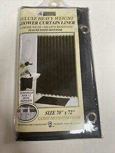 New Deluxe Heavy Weight Magnetized Shower Curtain Liner - Black Mildew Resistant