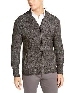 Tasso Elba Men's Full-Zip Marled Sweater Deep Black Small or Medium