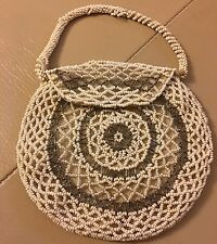 Antique vintage c 1920s glass beaded evening bag handbag purse bridal wedding