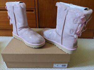 NIB UGG Women's BAILEY BOW II metallic suede SHIMMER,Pink Cloud, 1112532, size 9