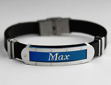 MAX - Mens Silicone & Blue Name Plate Engraved Bracelet - Wedding Gifts