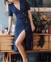 New Button Wrap Dress Retro French Sweet Sexy Navy Dress TB