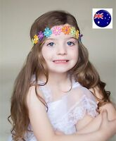 Girls Kids Children Rainbow colorful multi flower Daisy Elastic Hair Head band