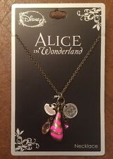 Disney Alice In Wonderland Charm Necklace Cheshire Cat Cluster New With Tags!
