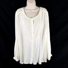 Catherines Size 3X Embroidered Peasant Top Blouse Ivory Button Down Long Sleeve