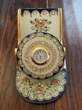 Handcrafted Marble Mobile Stand with Clock/ Kundan Meenakari Mobile Stand
