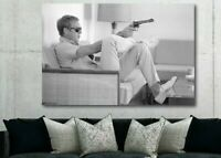 Steve Mcqueen with Gun Poster Canvas Print Art Decor Wall FRAMED
