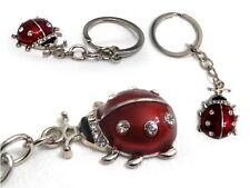Portachiavi Ciondolo Coccinella con Strass colori Rosso Bonboniera Portafortuna