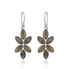 Natural Labradorite Gemstone Floral Design 925 Fine Silver Earrings Jewelry