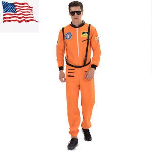 ASTRONAUT JUMPSUIT COSTUME NASA ORANGE SHUTTLE SHIP MOON SPACE SUIT ADULT MENS