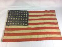 "Vintage 48 Star American Flag Old Worn 22""X33"" Maritime naval"